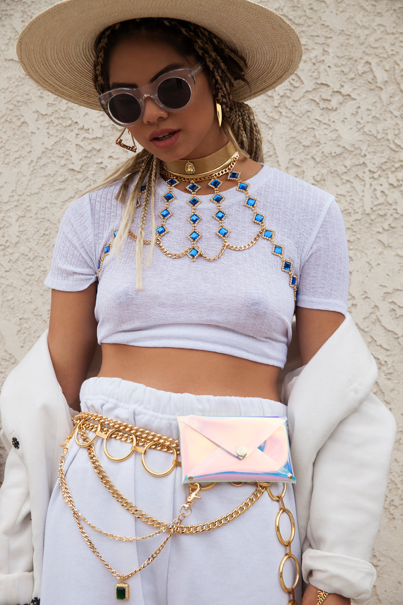Holographic iridescent Chain Pouch