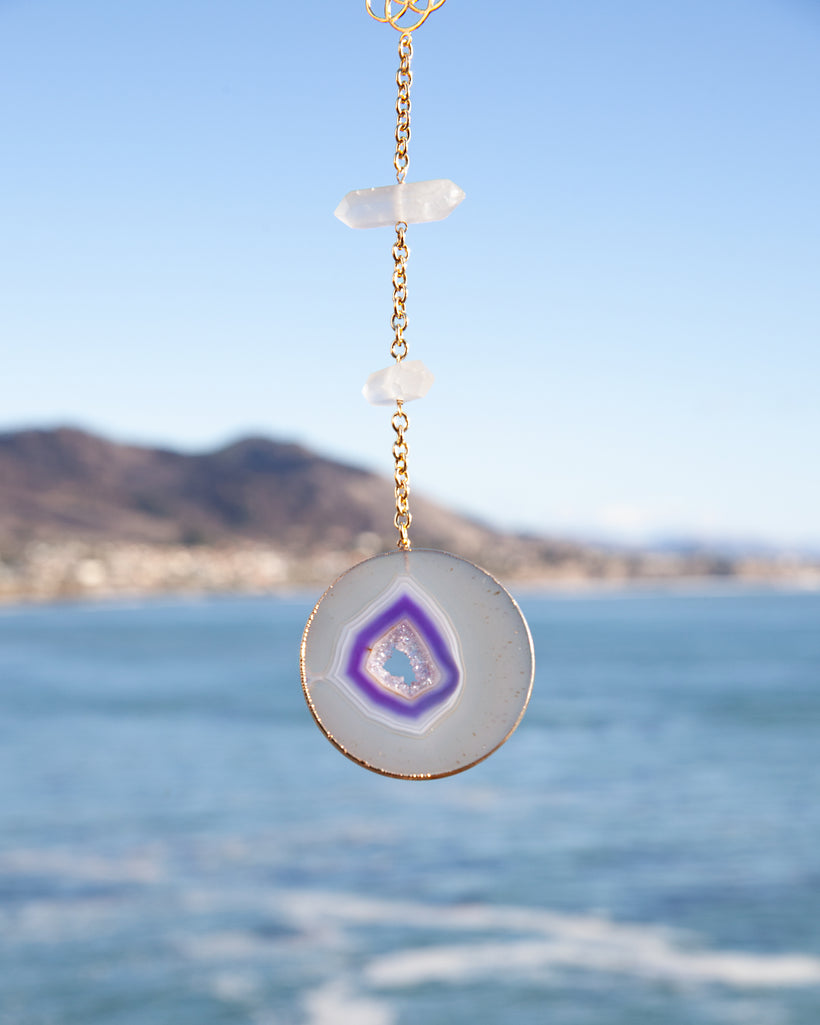 Purple Crystal Geode Wall Hanger