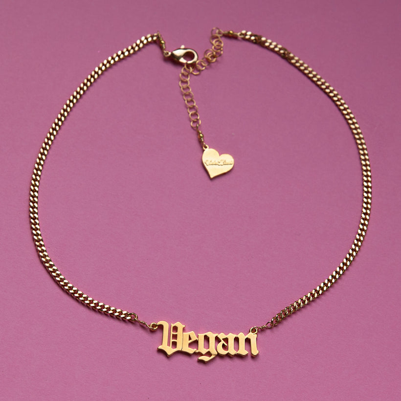 Vegan Nameplate Necklace