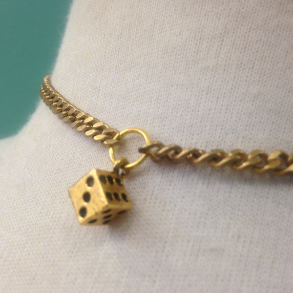 Dice Charm Ring Choker