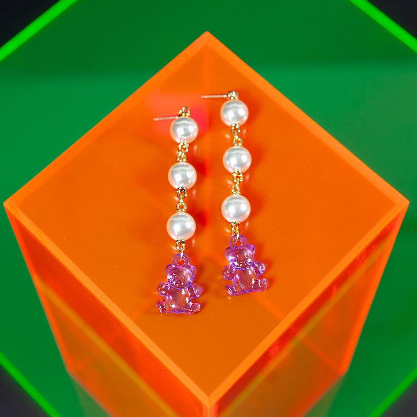 Pearl Gummy Bear Earrings