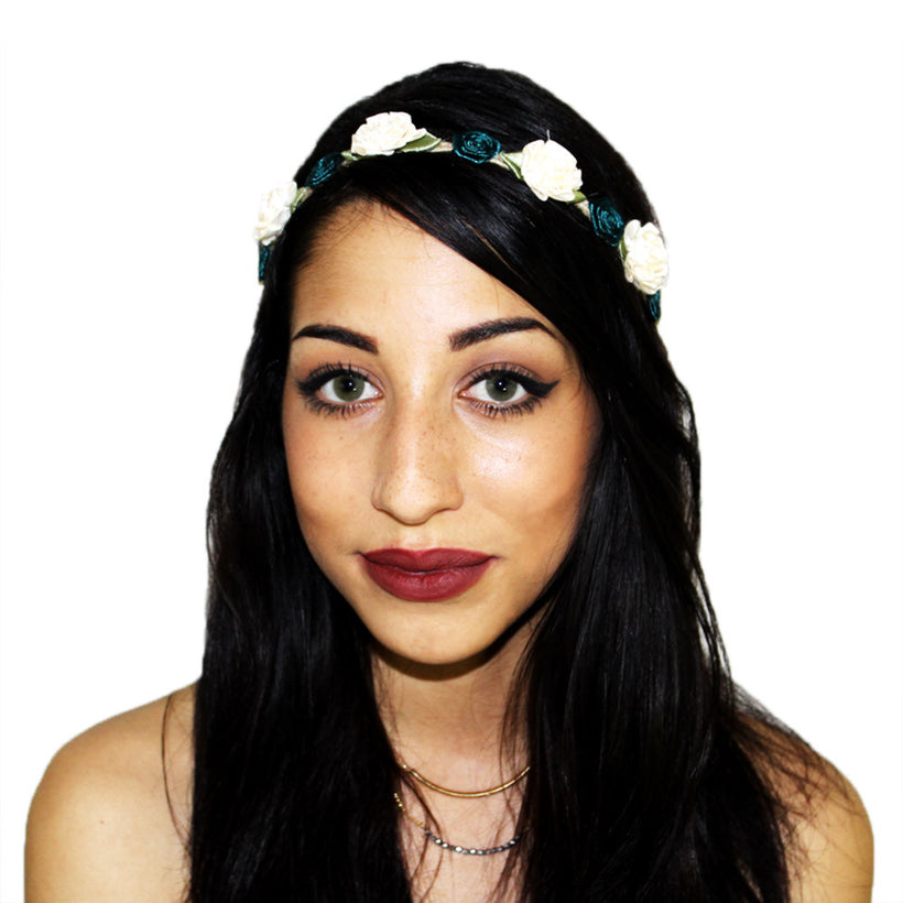 White Marigold and Emerald Rose Floral Headcrown