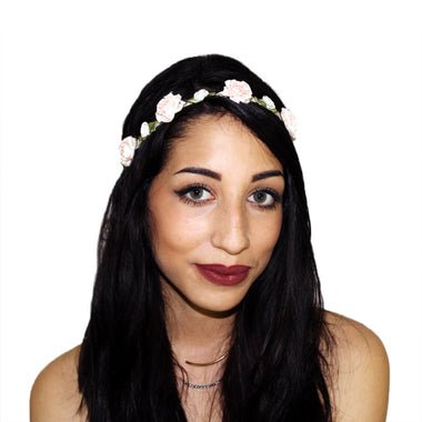 Light Pink Marigold and White Rose Floral Headcrown