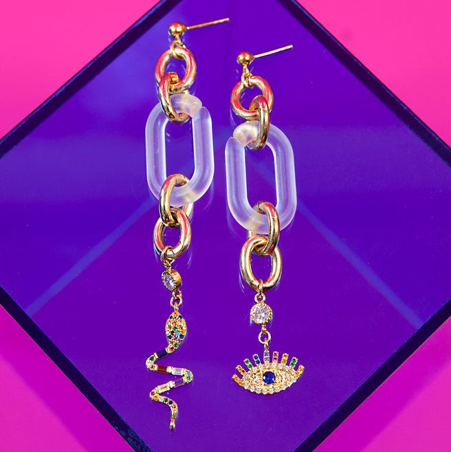 Rainbow Snake Eye Mismatch Earrings