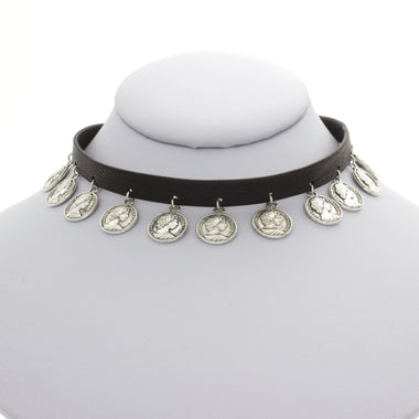Mini Leather Coin Choker