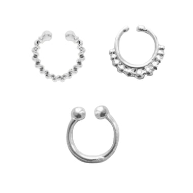 Silver Eros Faux Lip Ring Set