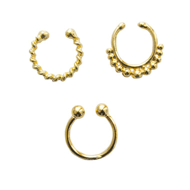 Gold Eros Faux Lip Ring Set