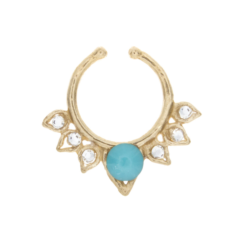 Turquoise and Clear Jewel Aurora Clip