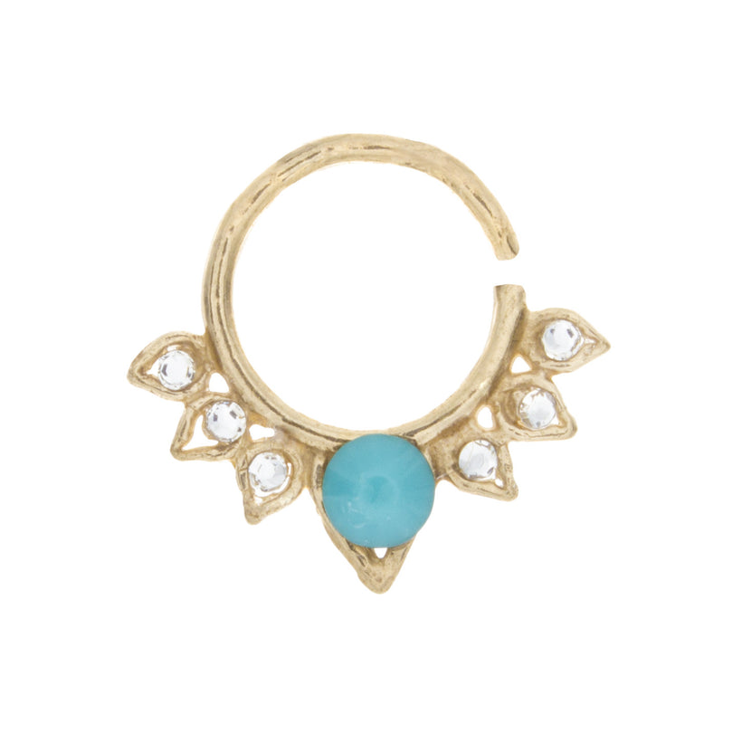 Turquoise and Clear Jewel Aurora Ring
