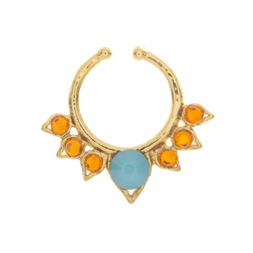 Turquoise and Orange Jewel Aurora Clip