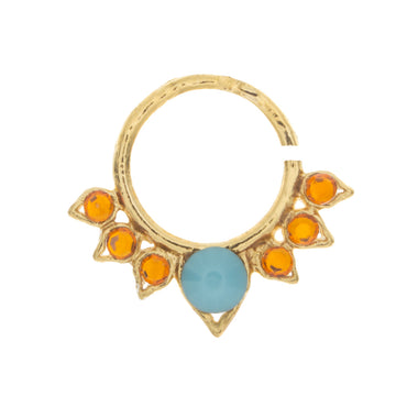 Turquoise and Orange Jewel Aurora Ring
