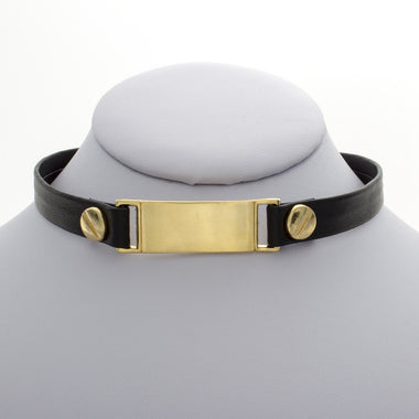 Gold Bar Leather Choker