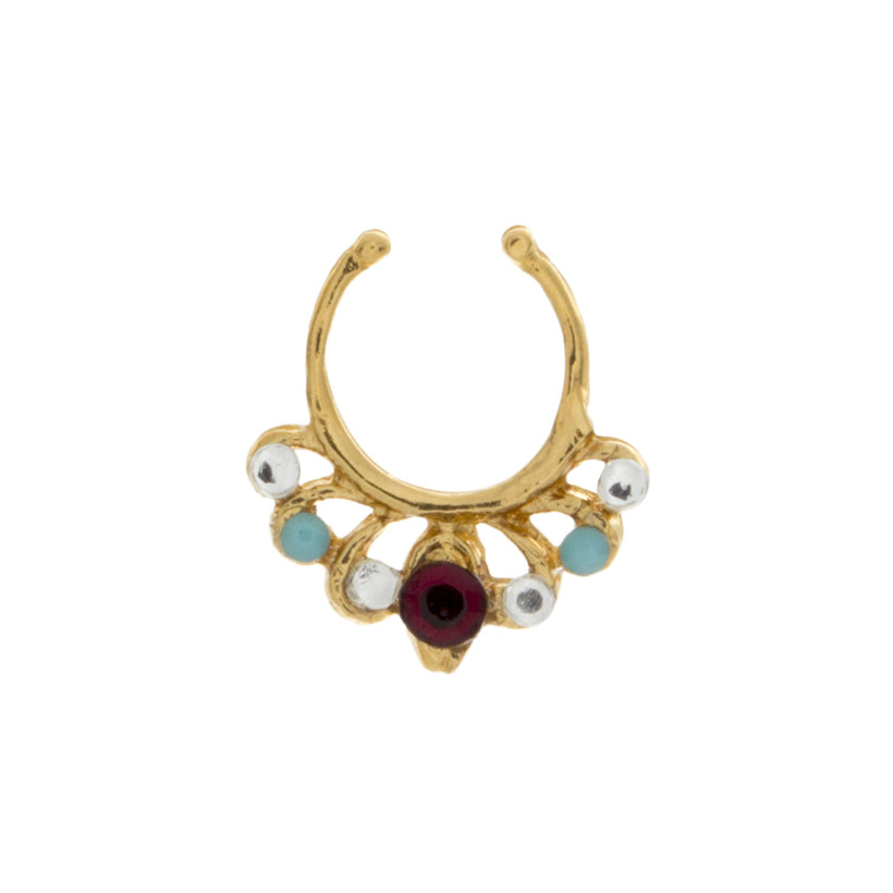 Jeweled Garnet, Clear, and Turquoise Europa Clip