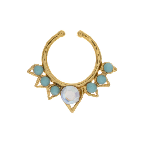 Fancy Turquoise and Rainbow Jeweled Septum Clip