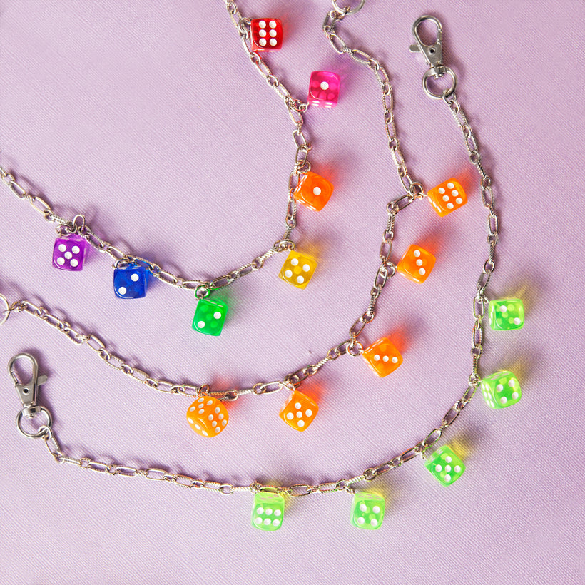 Roll the Dice Clear Pocket Chain