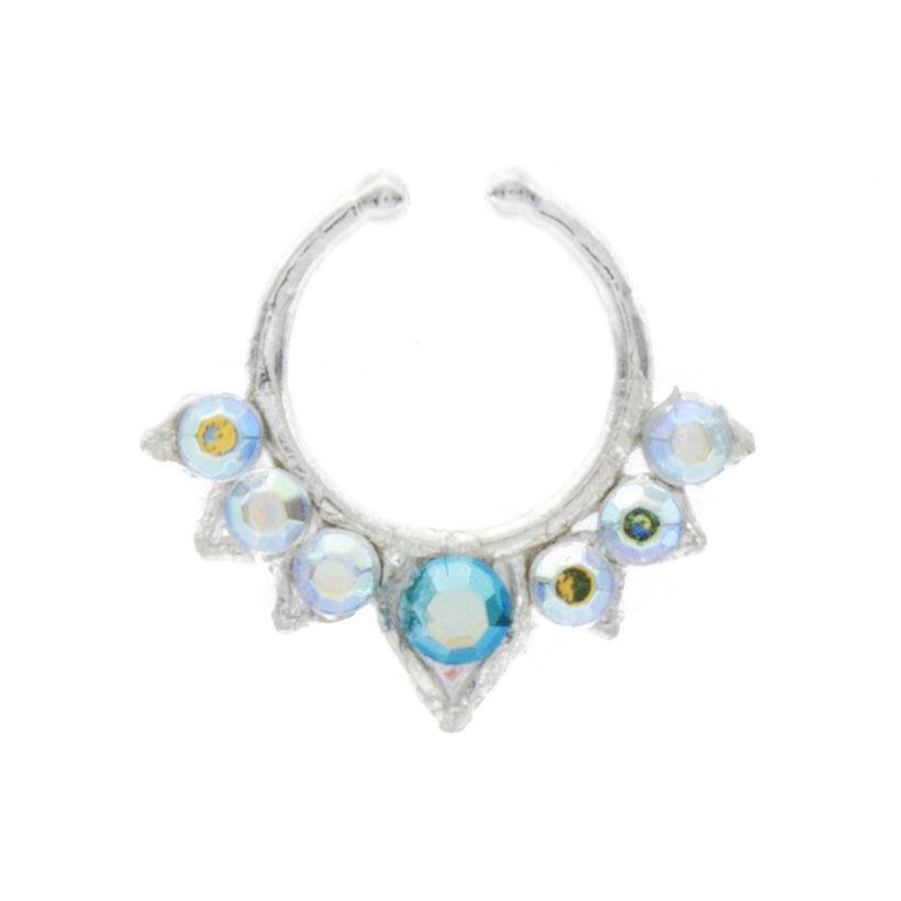 Aqua and Rainbow Jewel Aurora Clip