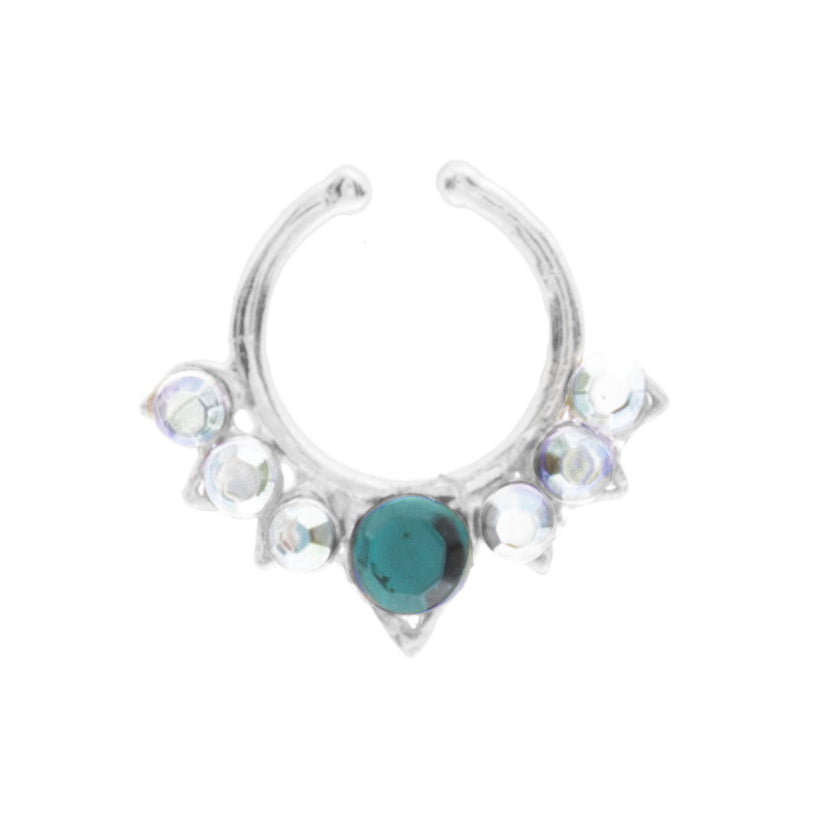 Emerald and Rainbow Jewel Aurora Clip