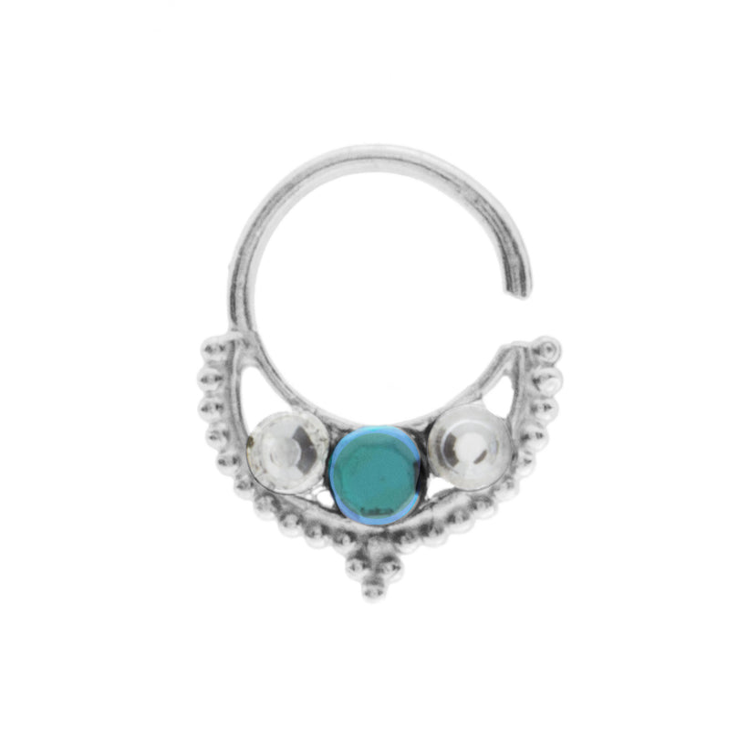 Emerald and Clear Jewel Freya Ring