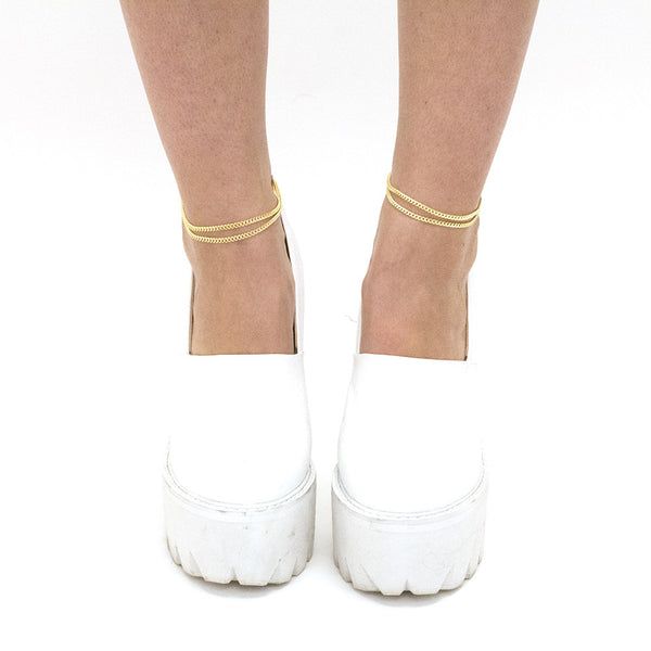 Gold or Silver Double Chain Anklet