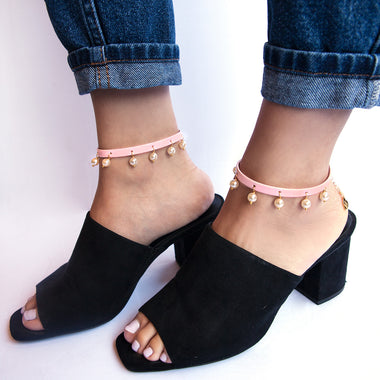 Pink Pearl Leather Anklet