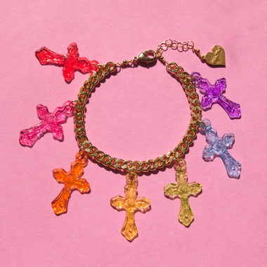 Crystal Clear Cross Bracelet