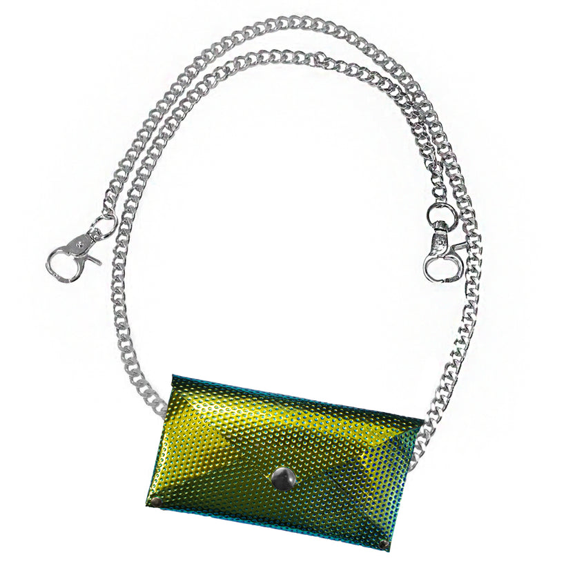 Green Iridescent Chain Pouch