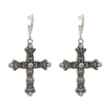 Rhinestone Cross Hoop Earrings
