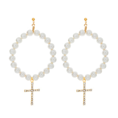 Cross Pearl Hoop Earrings