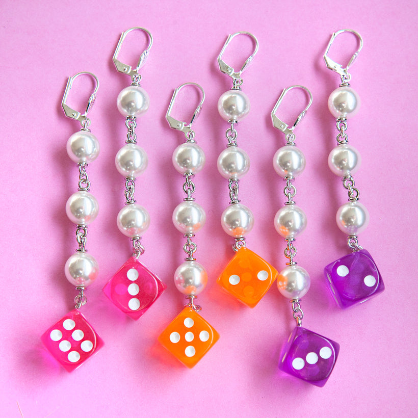 Pearl Transparent Dice Earrings