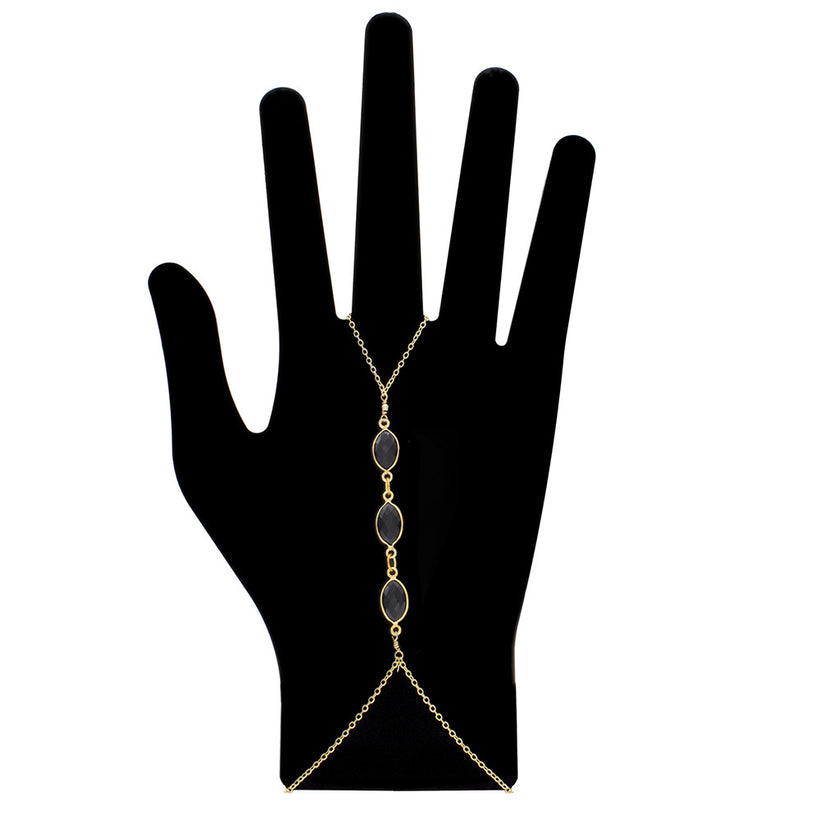 Triple Gemstone Hand Chain