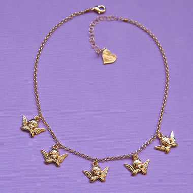 Mini Cherub Charm Necklace