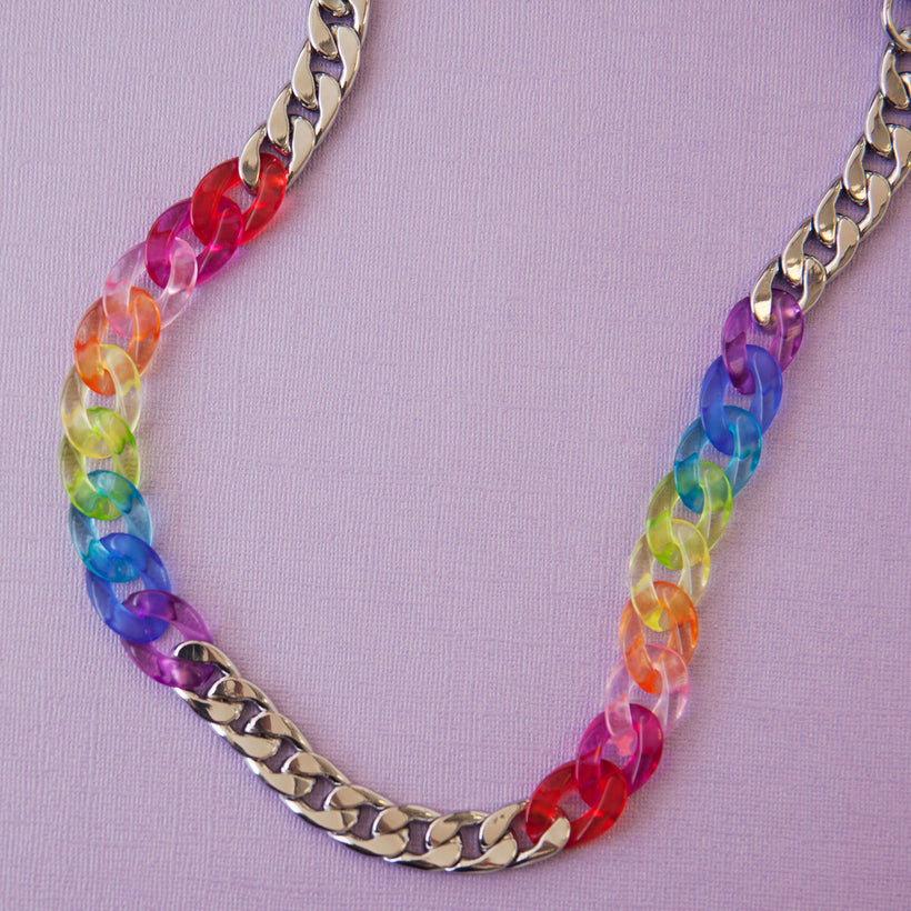 Rainbow Clear Metal Pocket Chain
