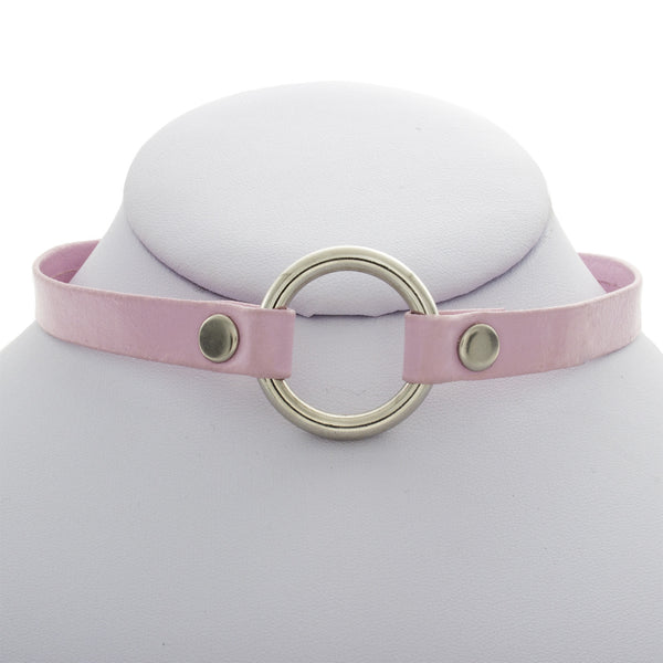 Leather Circle Ring Choker