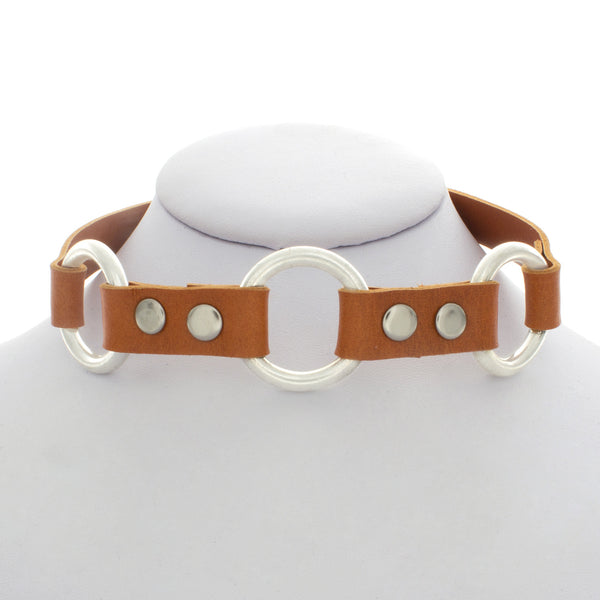 Orange Leather Three Ring Choker