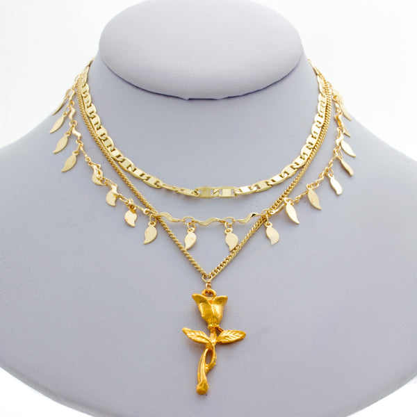 Golden Rose Triple Chain Necklace