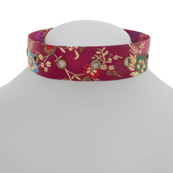 Maroon Bloom Rivet Choker