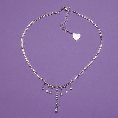 Silver Bar Drop Sparkle Necklace