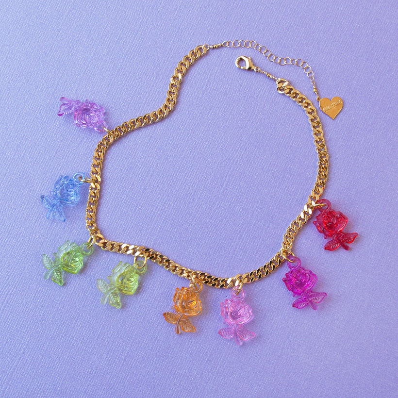 Crystal Clear Rose Choker