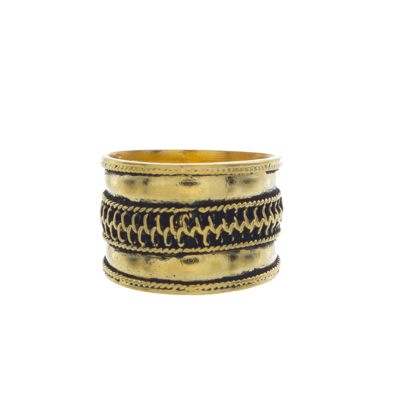 Crosshatch Indian Band Knuckle Ring
