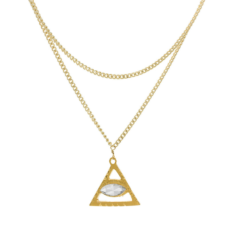 Double Chain Triangle Eye Choker
