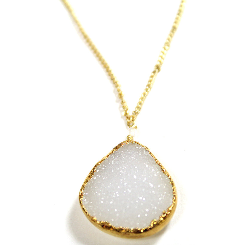 White Druzy Bezel Necklace