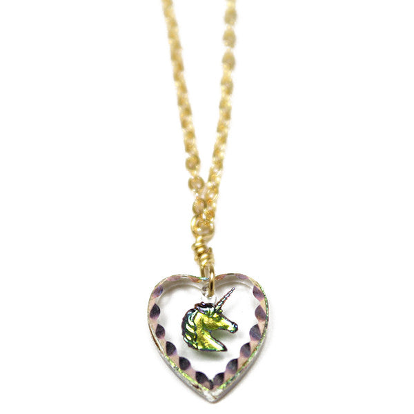 Glass Unicorn Heart Pendant Necklace