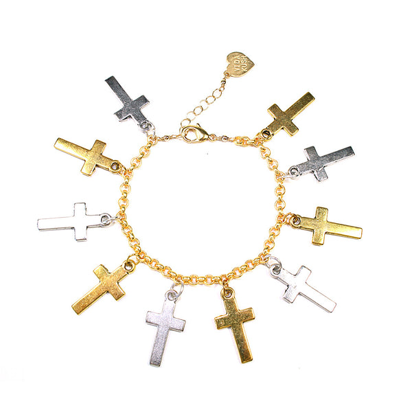 Silver and Gold Cross Charm Bracelet