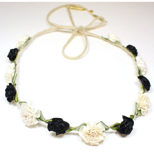 White and Black Marigold Floral Headcrown