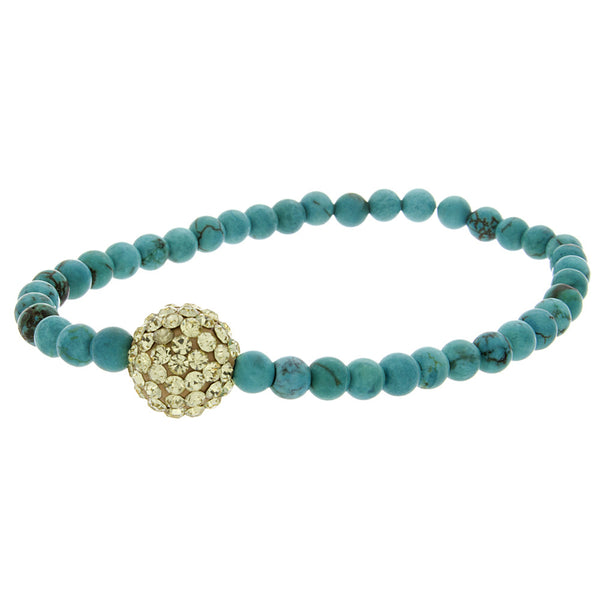 Turquoise Bead Gold Crystal Ball Bracelet