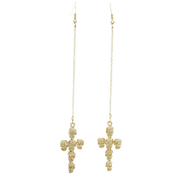 Skull Cross Drop Earrings