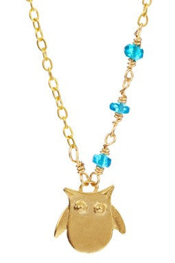 Rafia Owl With Apetite Necklace