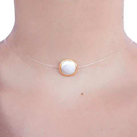 Mother of Pearl Round Bezel Floating Choker