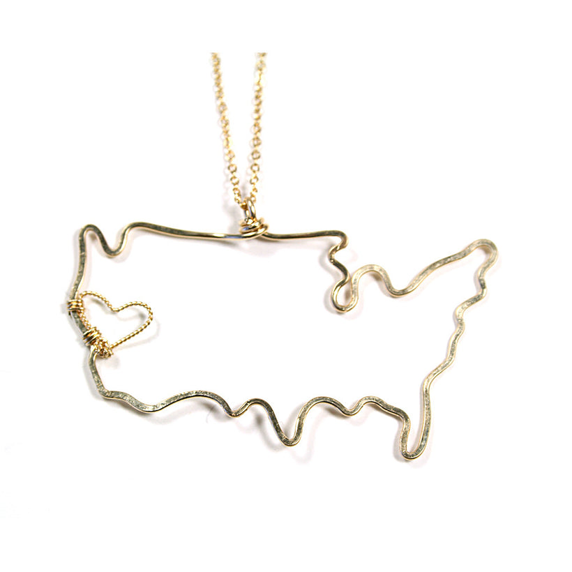 Rafia Hammered USA Heart Necklace