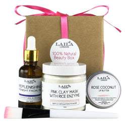 Clean Beauty Organic Spa, Full Size Beauty Gift Box 100% Natural